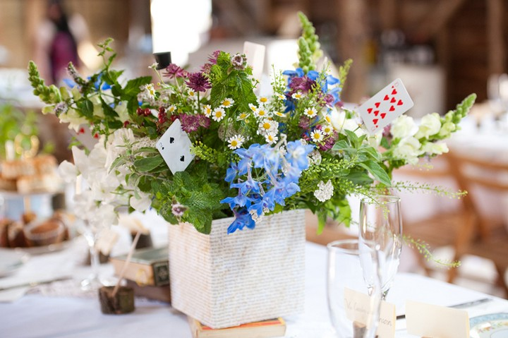 A beautiful wedding table centrepiece that's easy to create yourself - source: http://www.boho-weddings.com/2013/03/21/book-themed-wedding-in-berkashire/