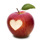 Apples with heartshape