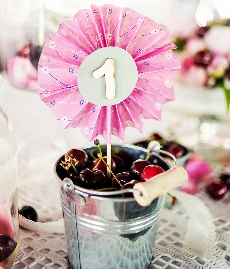 Cherry buckets with table numbers