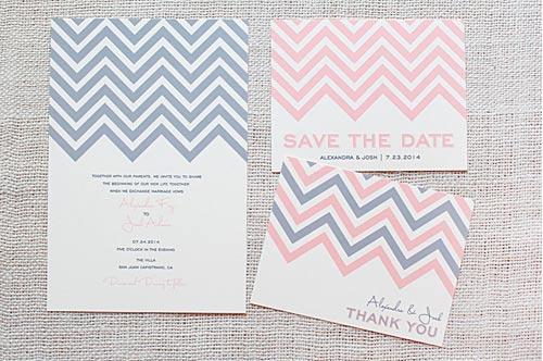 Free Wedding Stationary Template - Chevron Stripe