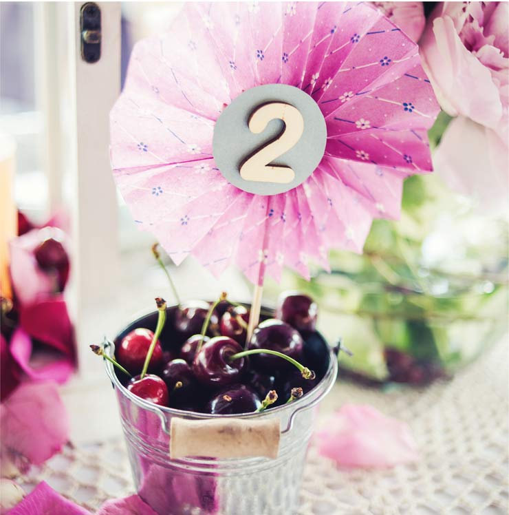 Table numbers in cherry buckets