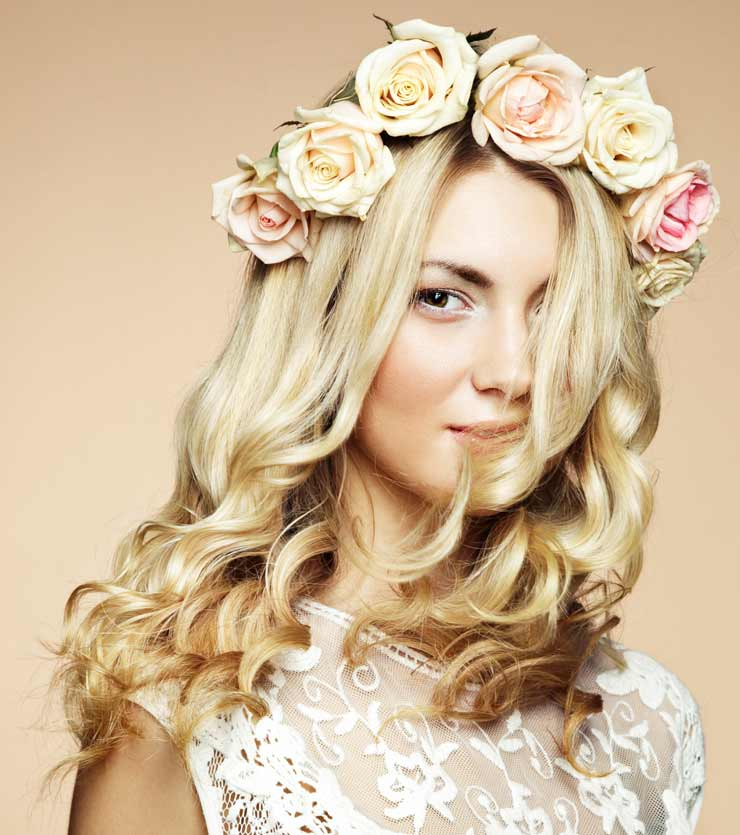 Natural wedding hairstyle with floral headband