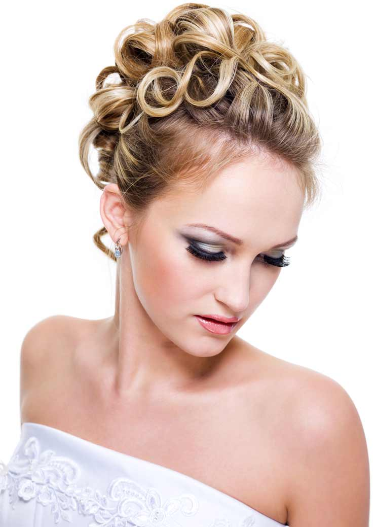 Wedding hair up with pinned rinWedding hair up with headband and ringlets