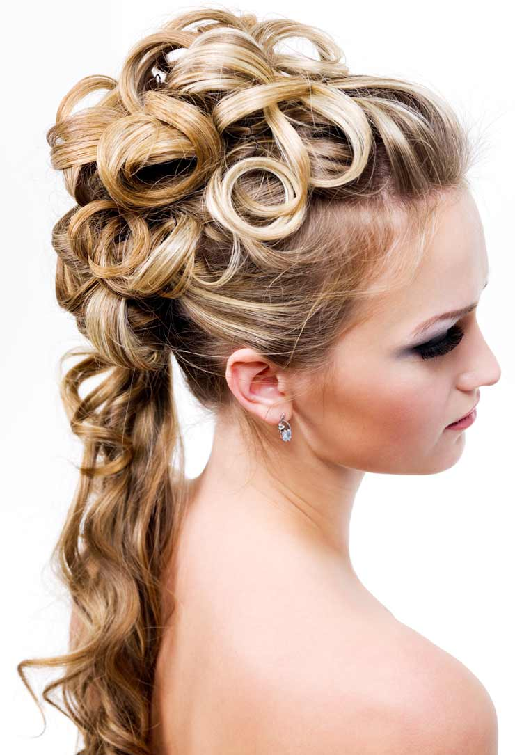 Hair up with hair tail behind
