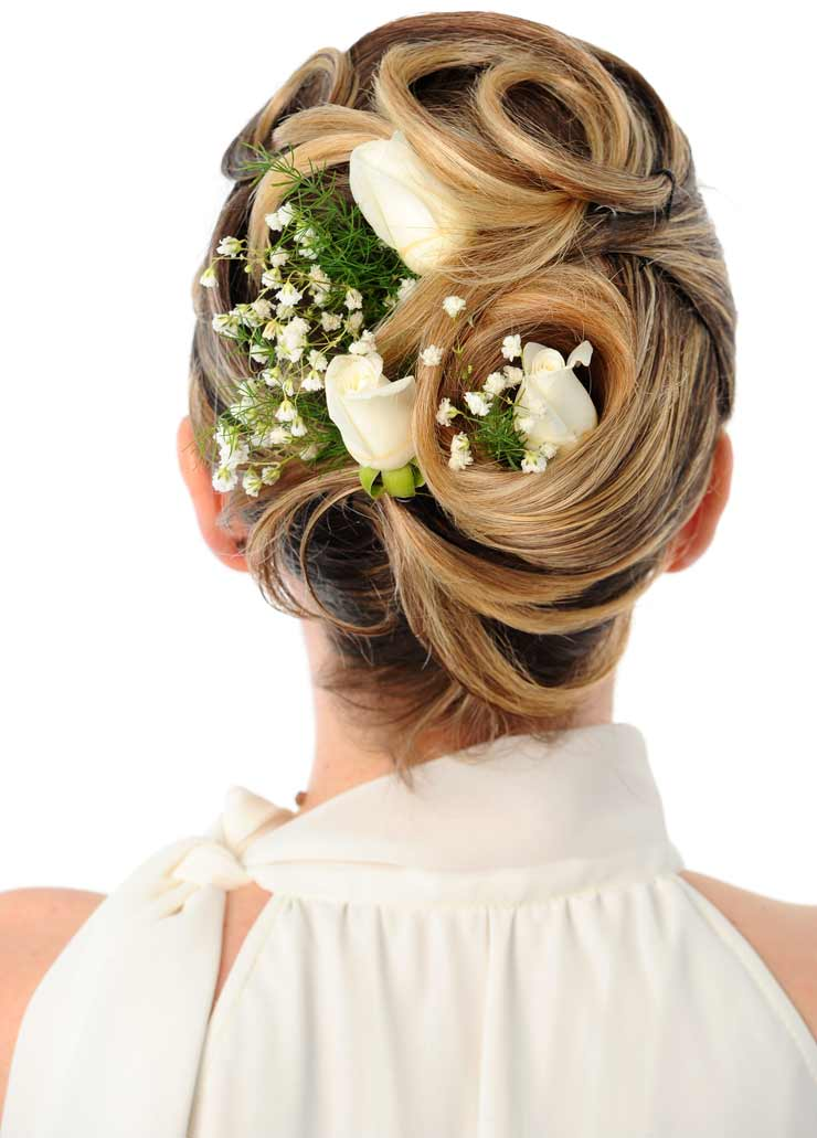 Wedding hair up with flowers