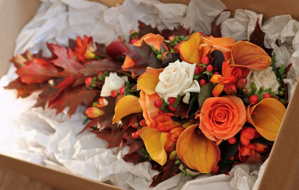 Bridal bouquet with floral fall colours