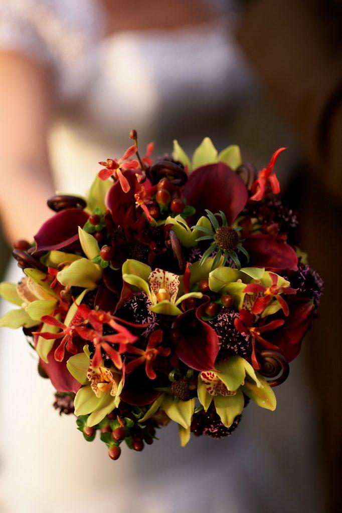 Dark red fall wedding bouquet