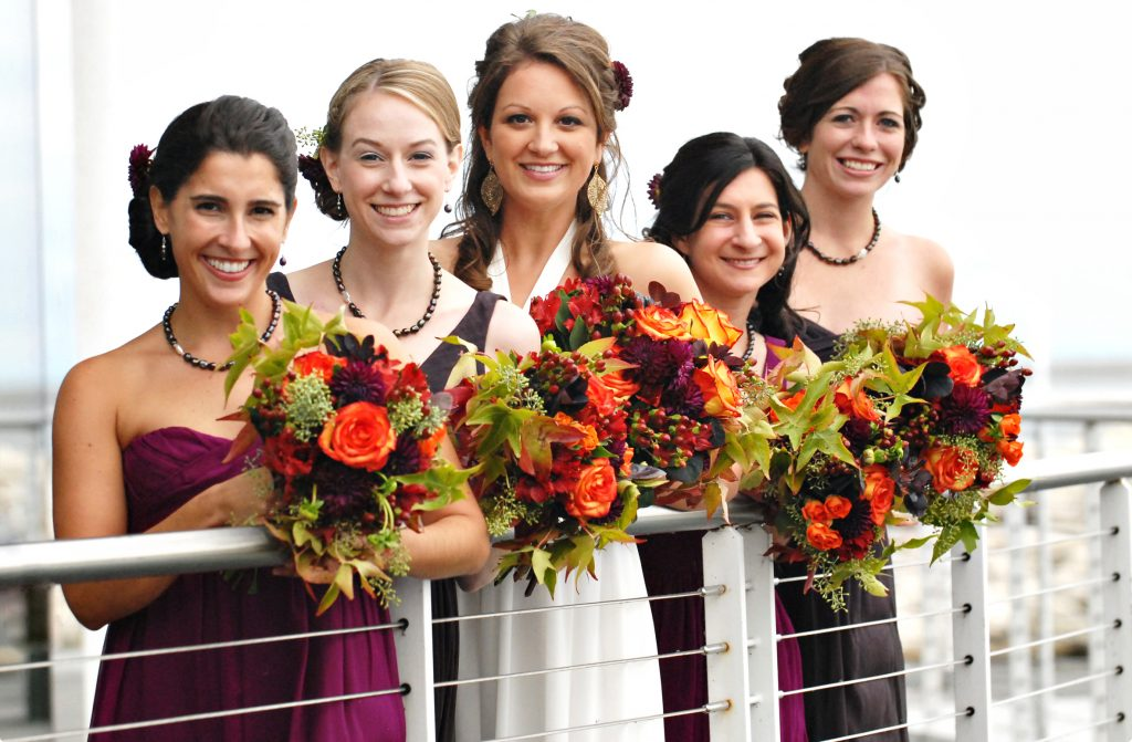 Bride and bridesmaids - fall wedding flowers