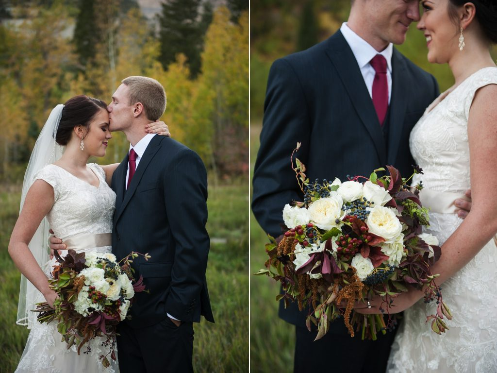 Fall wedding couple - white bouquet