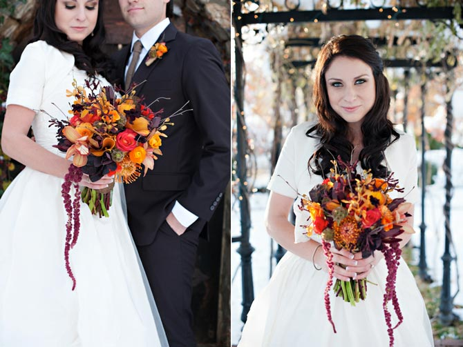 Bride with fall wedding bouquet