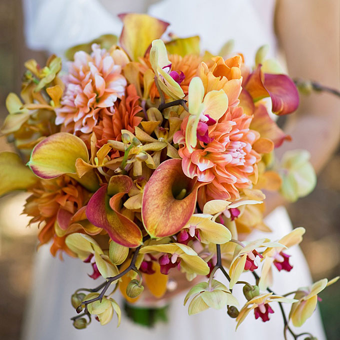 Fall wedding flowers with berries and twigs