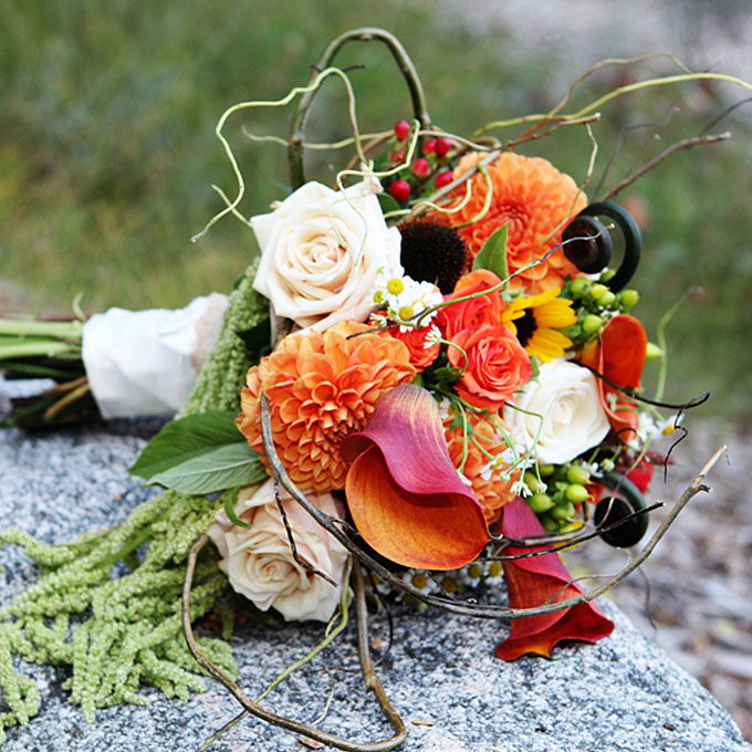 Fall wedding flowers with greenery