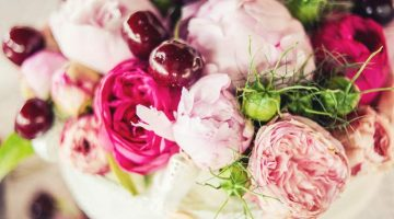 Peonies, roses and cherries - wedding flowers decoration