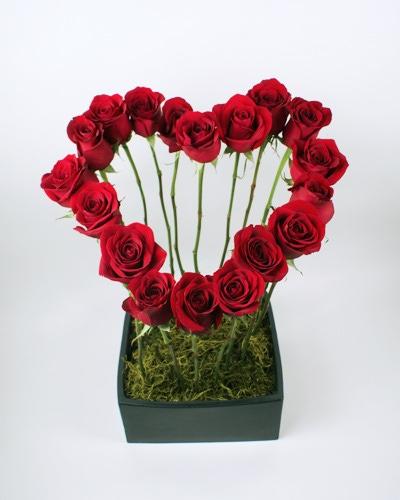 Flowers arranged in a heart