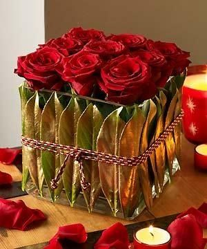 Cube of roses for Valentine's