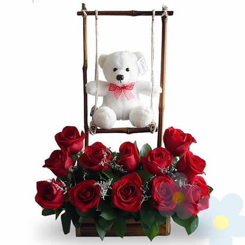 Roses and teddy swing for valentines day