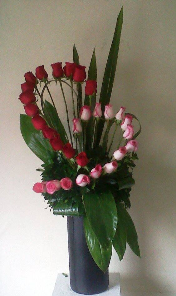 Valentine's vase and arrangement