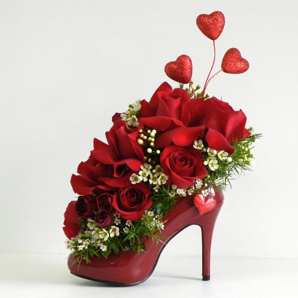 Valentine's day shoe with flowers