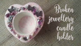 Shabby chic candle holders with broken jewellery